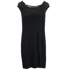 Elie Tahari Black Extra Fine Merino Wool Dress